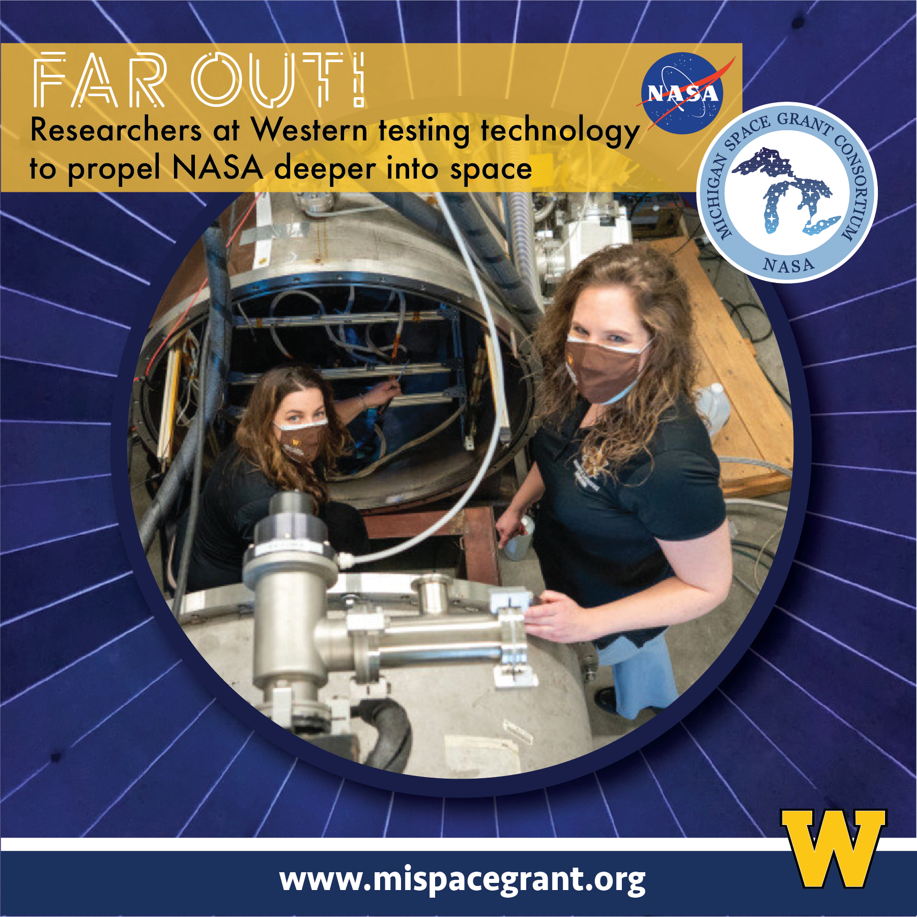 Margaret Mooney, left, and Dr. Kristina Lemmer stand with a vacuum chamber in Lemmer's lab. The device is used to simulate the conditions in space.